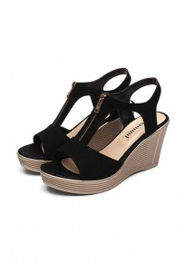 Black Piscine Mouth Wedges Zipper Casual Sandals