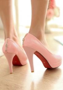 Zapatos punta redonda de diamantes de imitación strass cadena casuales de tacón alto rosa