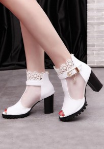 White Piscine Mouth Chunky Grenadine Patchwork High-Heeled Sandals