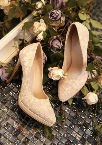 Beige Point Toe Stiletto Lace Fashion High-Heeled Shoes