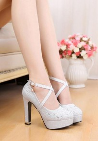 Silberne runde Zehe klobig Gürtelschnalle Mode Hochhackig Schuhe