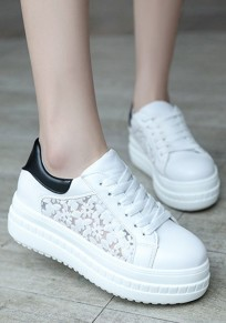 White Round Toe Heavy-Soled Lace Casual Shoes