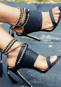 Black Round Toe Stiletto Chain Casual High-Heeled Sandals
