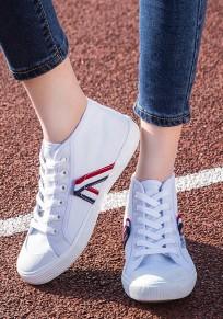 Chaussures bout rond lacet plat décontracté toile blanc