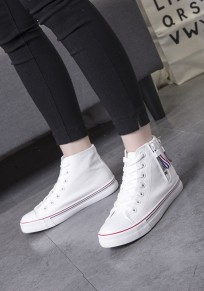 White Round Toe Flat Zipper Casual Canvas Shoes