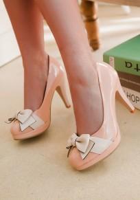 Zapatos punta redonda estilete pajarita dulce de tacón alto albaricoque