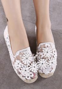 Zapatos punta redonda plana malla casuales blanco