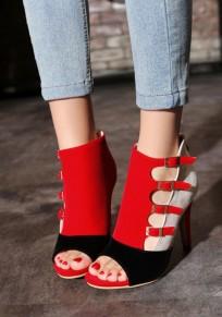 rot Peep Toe Stilett Gürtelschnalle Mode High-Heels Sandalen