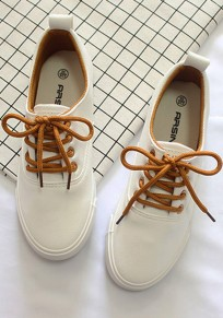 White Round Toe Flat Lace-up Casual Shoes