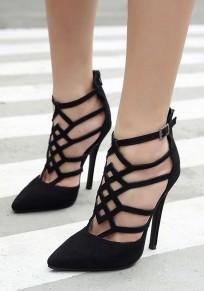 Chaussures pointe pointe stylet ajouré mode à talons hauts noir
