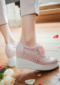 Pink Round Toe Lace-up Grenadine Patchwork Fashion Wedges Shoes