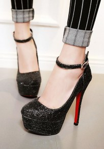 Black Round Toe Stiletto Sequin Fashion High-Heeled Shoes