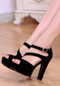Schwarze Peep Toe klobig Gürtelschnalle Beiläufig High-Heels Sandalen