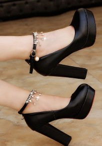 Black Round Toe Chunky Rhinestone Chain Fashion Buckle High-Heeled Shoes