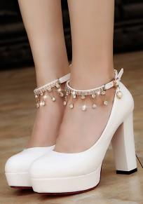 Chaussures bout rond grosse chaîne à strass boucle à talons hauts blanc