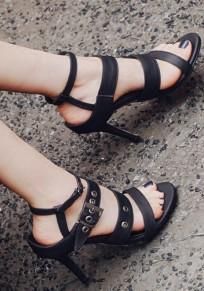Schwarze runde Zehe Stilett Wölbung Beiläufig High-Heels Sandalen