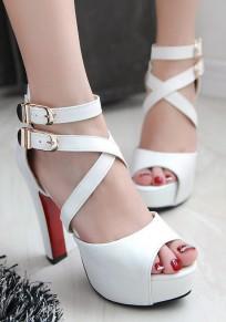 Weiß Peep Toe klobig Doppel Wölbung Beiläufig High-Heels Sandalen