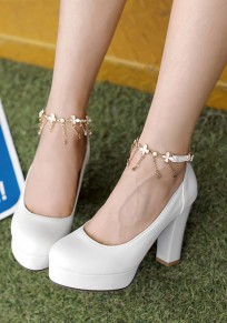 White Round Toe Chunky Rhinestone Chain Casual High-Heeled Shoes