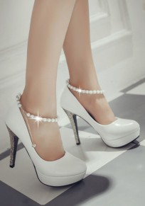 White Round Toe Stiletto Beads Chain Fashion Sequin High-Heeled Shoes