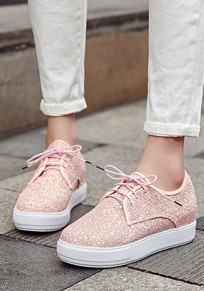 Pink Round Toe Sequin Lace-up Fashion Heavy-Soled Shoes