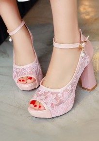 Pink Piscine Mouth Chunky Lace Buckle Fashion High-Heeled Sandals