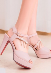 Pink Piscine Mouth Chunky Rhinestone Chain Buckle Fashion High-Heeled Sandals