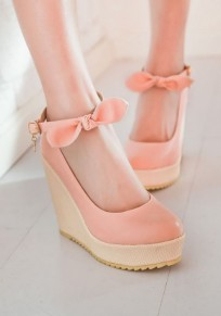 Pink Round Toe Bow Buckle Cute Wedges Shoes