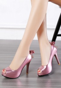 Pink Piscine Mouth Stiletto Bow Fashion High-Heeled Sandals