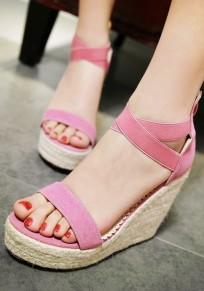 Sandales rose framboise bout rond manches fermeture éclair