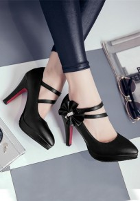 Black Point Toe Stiletto Bow Casual High-Heeled Shoes