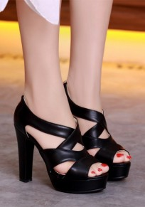 Schwarze Peep Toe klobig Reißverschluss High-Heels Sandalen