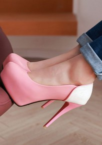 Chaussures bout rond stylet mode à talons hauts rose