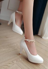 Zapatos punta redonda puntilla de aguja de moda de tacón alto blanco