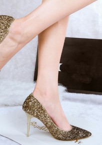 Golden Punkt Zehe Stilett Paillette Mode High-Heels Schuhe