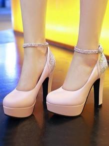 Rosa Runde Zehe Blockabsatz Pailletten Glitzer Fesselriemen Riemchen Pumps Süße Hochhackige High Heels Damen Schuhe