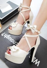Beige Runde Zehe Schleife Schnürung Fesselriemen Riemchen Blockabsatz High Heels Damen Schuhe