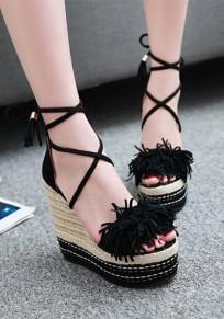 Schwarze runde Zehe Wedges Quaste Querriemen Beiläufig Sandalen