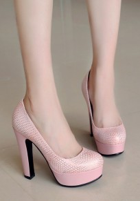 Chaussures bout rond grosse mode à talons hauts rose
