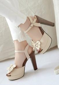 Beige Peep Toe klobig Bogen Süße Schnalle High-Heels Sandalen