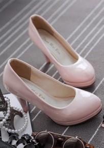 Chaussures bout rond stylet décontracté à talons hauts rose