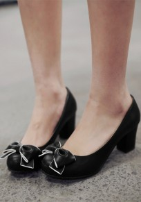 Zapatos punta redonda la corbata gruesa dulce de tacón alto negro