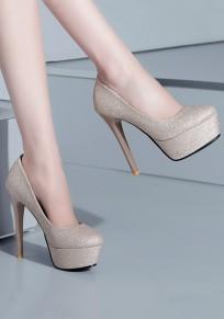 Zapatos punta redonda estilete lentejuelas de moda de tacón alto de oro