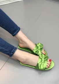 Green Round Toe Bow Fashion Flat Slippers