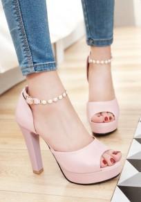 Sandalias piernas gruesas de la boca de la piscina manera de tacón alto color de rosa