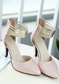 Sandalias punto de punta estilete cremallera de moda de tacón alto rosa