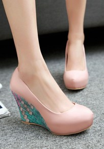 Pink Round Toe Print Casual Wedges Shoes