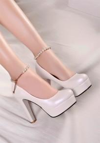 Weiße runde Zehe klobig Perlen Kette Mode High-Heels Schuhe