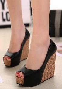Schwarze Peep Toe Wedges Beiläufig Sandalen