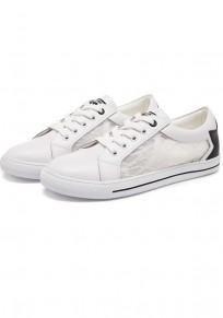 Zapatos punta redonda granadina plana de encaje casuales blanco