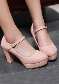 Zapatos punta redonda hebilla gruesa casuales de tacón alto rosa